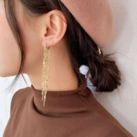 Fashion long metal tassel drop earrings sweet lovely heart elegant women earrings