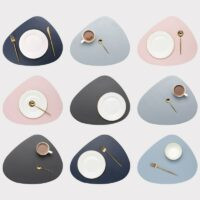Leather Placemat Tableware Pad Oil Water Resistant Heat Insulation Non-Slip Tablemat Coaster Set for Kitchen Washable Pads