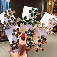 2pcs/set Luxury Shining Crystal Flower Alloy Hairpin Women Girls Sweet Barrettes Hair Clips Headband Fashion Hair Accessories