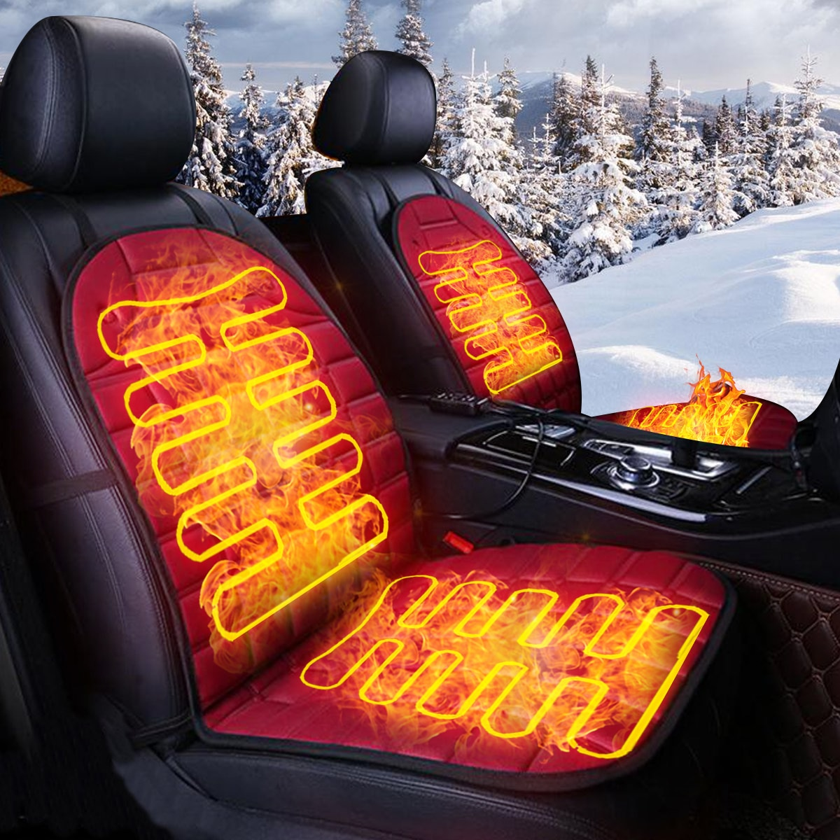 (For USA only) 2Pcs In 1 Fast Heated & Adjustable Black/Grey/Blue/Red Car Electric Heated Seat Car Styling Winter Pad Cushions Auto Covers
