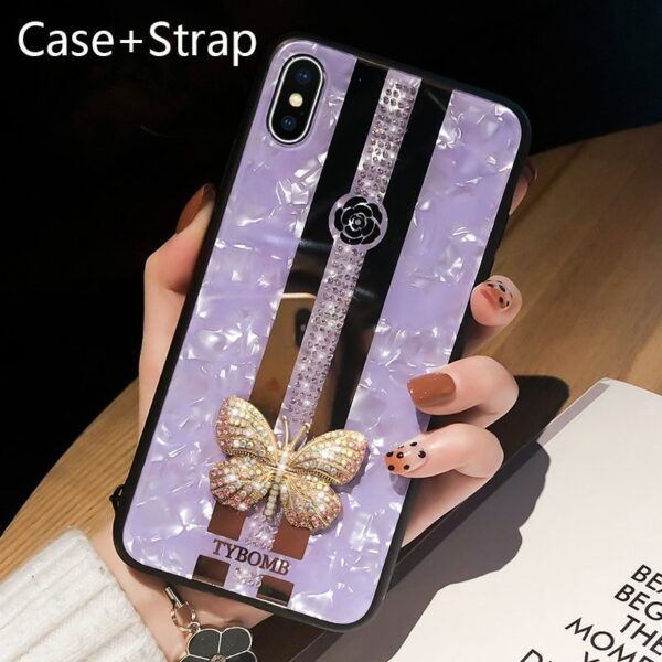 Luxury Creative Mirror Fashion 3D Inlaid butterfly Phone Case For iPhone X XR XS 12 mini 11 Pro Max Cover For iPhone 7 8 6s Plus