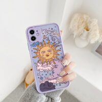 Funny Sun Moon Face Shockproof Phone Case For iPhone 11 Pro 12 7 XS MAX X XR SE20 8 Plus Soft TPU Matte Candy Back Cover