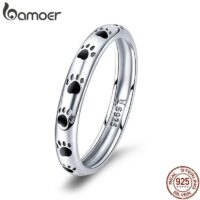 925 Sterling Silver Stackable Dog Cat Footprints Finger Rings for Women Wedding Ring Jewelry Valentine's Day GIFT