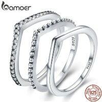 100% 925 Sterling Silver Water Droplet Clear CZ Finger Rings for Women Wedding Engagement Jewelry Girlfriend Gift
