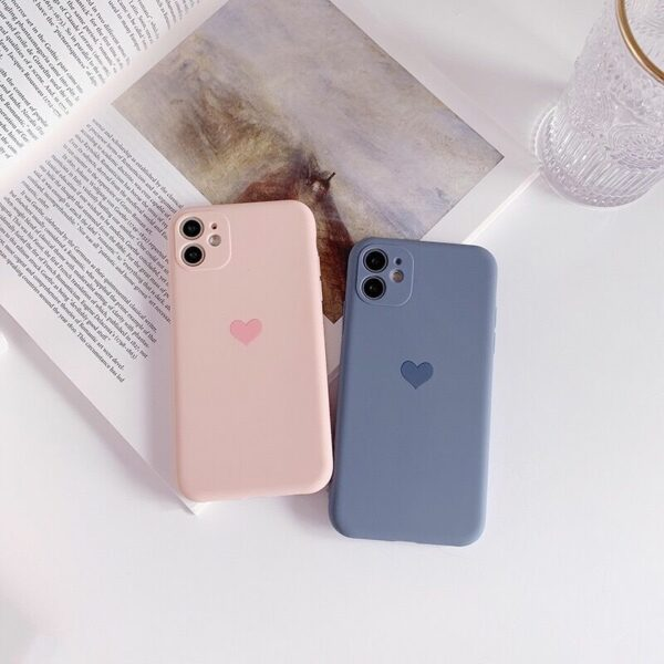 Frosted Lens protection Silicone heart phone case for iphone 12 11 pro max mini x xr xs max 8 7 6 6s plus se 2020 cases cover