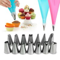 16PC/Set DIY Kitchen Baking Cake Decorating Tool Silicone Icing Piping Cream Pastry Bag Stainless Steel Nozzle Converter Tools