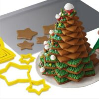 6Pcs/set Christmas Tree Cookie Cutter Stars Shape Fondant Cake Biscuit Cutter Mold 3D Cake Decorating Tools Baking Moulds
