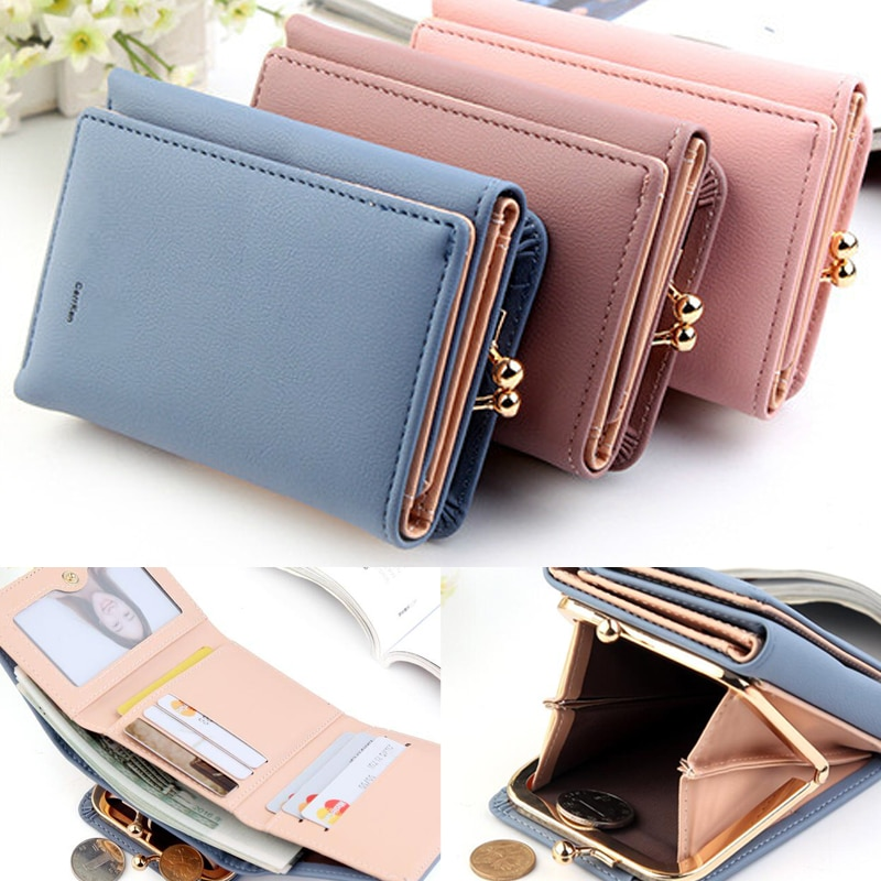 Cute Wallets Women Lady Short Women Wallets Mini Money Purses Small Fold PU-Leather Female Coin Purse Card Holder