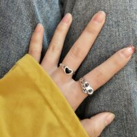 Fashion Crying Heart Ring For Women Girls Trendy Vintage Open Adjustable Ring Special Resizable Ring Jewelry